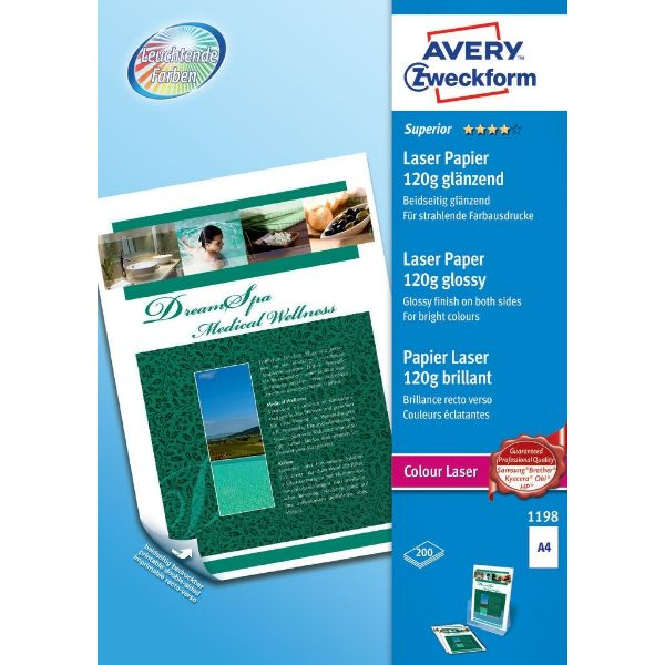 Avery 1198 Superior Color Laser Paper Glossy A4 120gm For Laser Printer (Pkt/200 sheets)