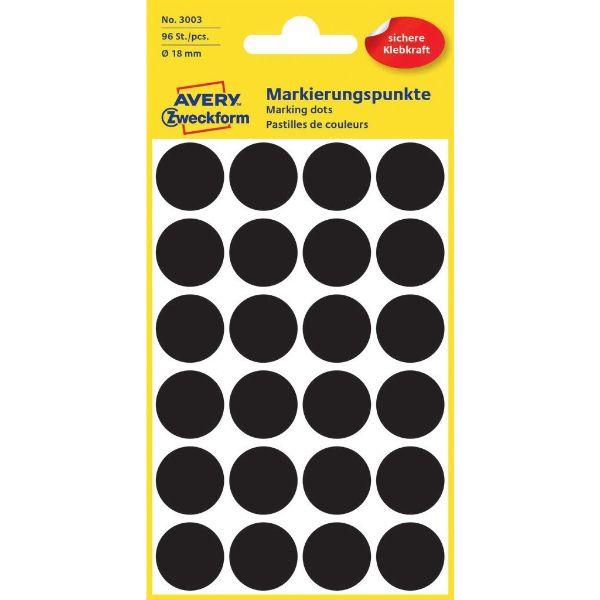 Avery 3003 Color Coding Dots, Ø 18 mm, Black, Permanent (Pkt/96 Labels)