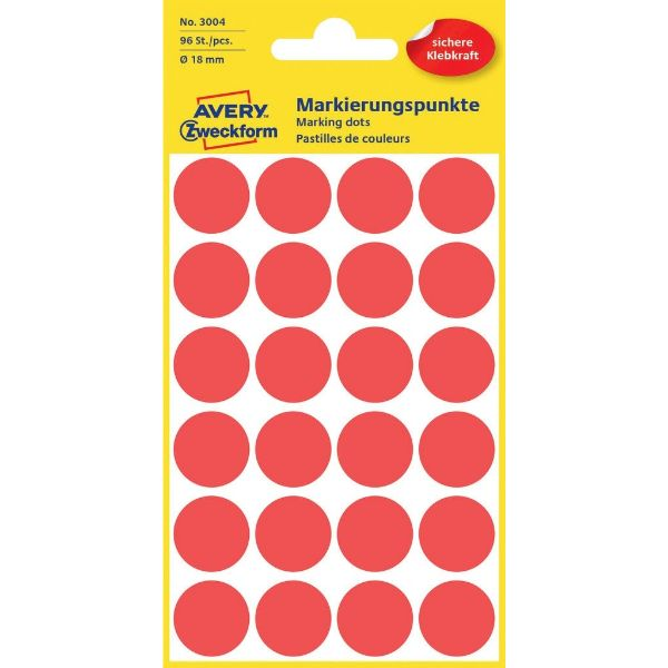 Avery 3004 Color Coding Dots, Ø 18 mm, Red, Permanent (Pkt/96 Labels)
