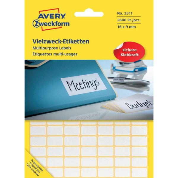 Avery 3311 Multipurpose Labels 16 x 9 mm, Hand Written - White (Pkt/2646 Labels)