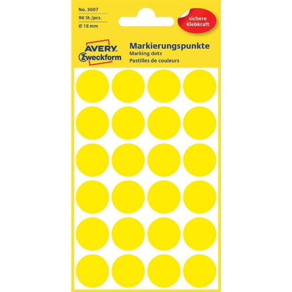 Avery 3007 Color Coding Dots, Ø 18 mm, Yellow, Permanent (Pkt/96 Labels)