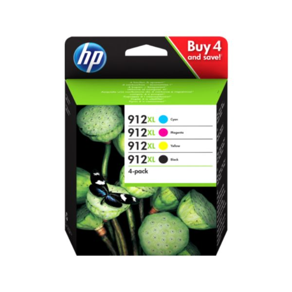 HP 912XL 4-pack Original Ink Cartridge - Cyan/Yellow/Magenta/Black