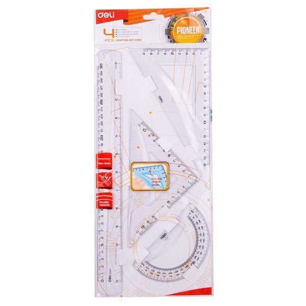 Deli EG00512 Drafting Set with Ruler/Squares/Protractor (pkt/4pcs)