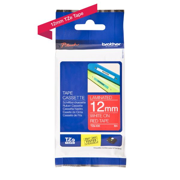 Brother TZe-435 Labelling Tape Cassette 12mm x 8m - White on Red (pc)
