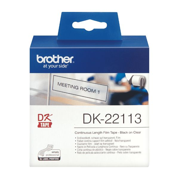 Brother DK-22113 Continuous Film Label Tape 62mm - Black on Clear (pc)