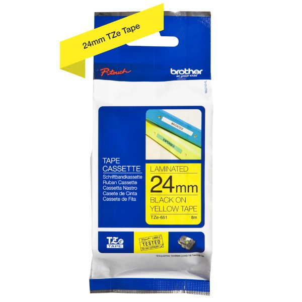 Brother TZe-651 Labelling Tape 24mm - Black on Yellow (pc)