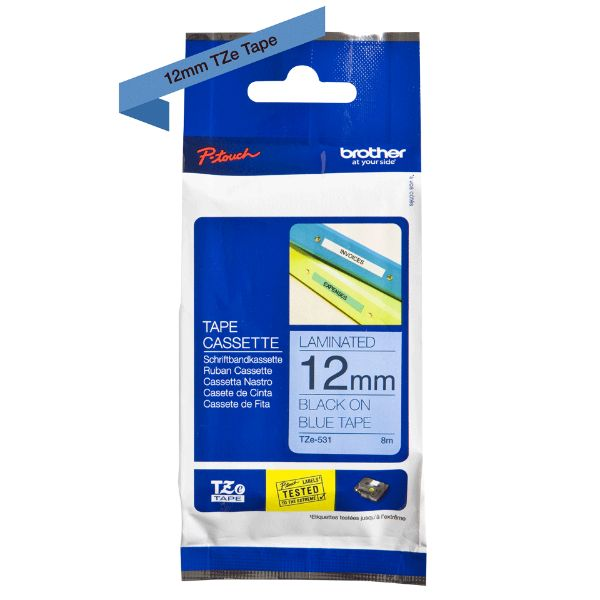 Brother TZe-531 Labelling Tape 12mm x 8m - Black on Blue (pc)