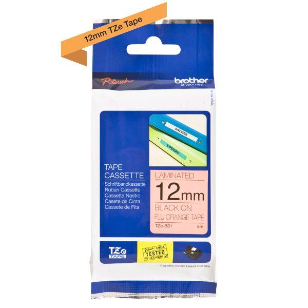 Brother TZe-B31 Labelling Tape Cassette 12mm x 8m - Black on Fluorescent Orange (pc)