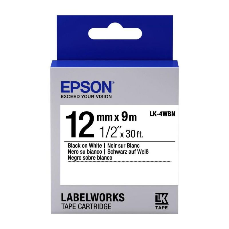 Epson LK-4WBN LabelWorks Label Maker Tape 12mm x 9m - Black on White (pc)