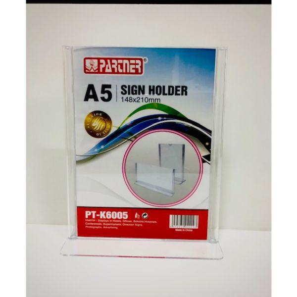 Partner PT-K6005 Acrylic Sign Holder T-Shape A5 148 x 210mm - Clear (pc)