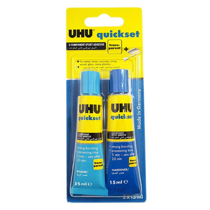 UHU Quickset Glue Adhesive - 15ml (pkt/2pcs)