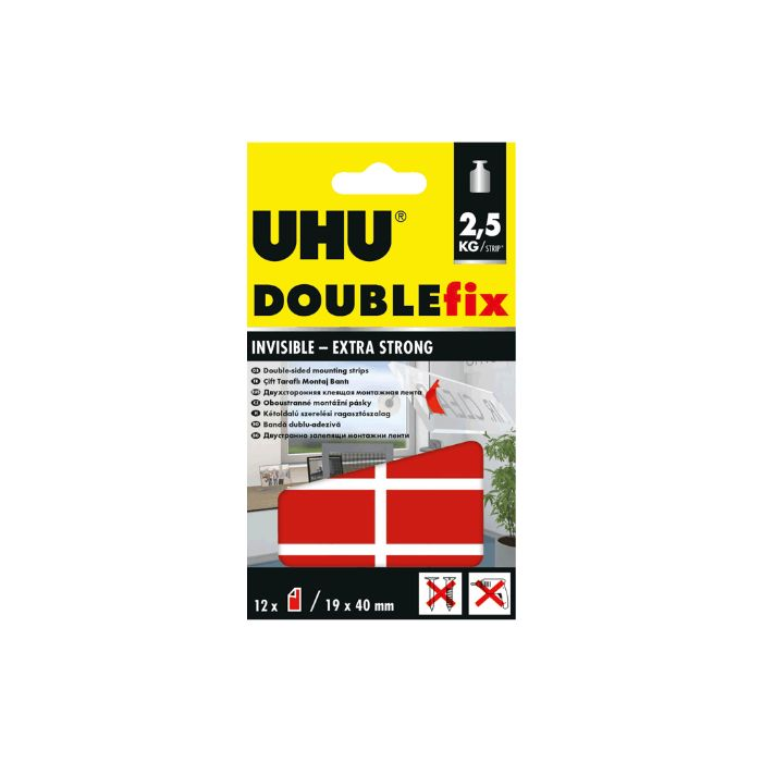 UHU Doublefix Double-Sided Mounting Strips Invisible (pc)