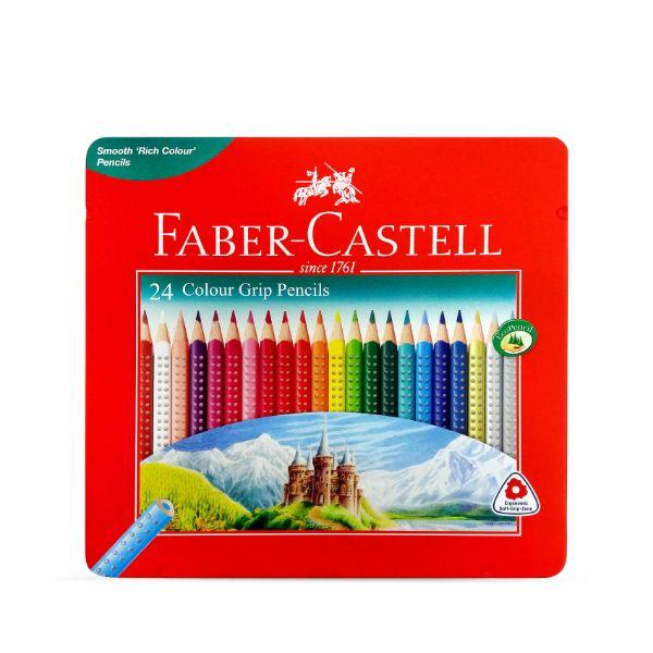 Faber Castell Grip 24 Colour Pencil Flat Tin (pkt/24pcs)