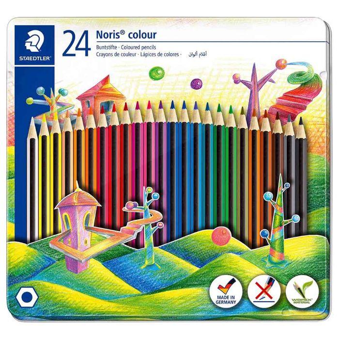 Staedtler 145 CM24 Noris Colouring Pencils Tin Case Set (pkt/24pcs)