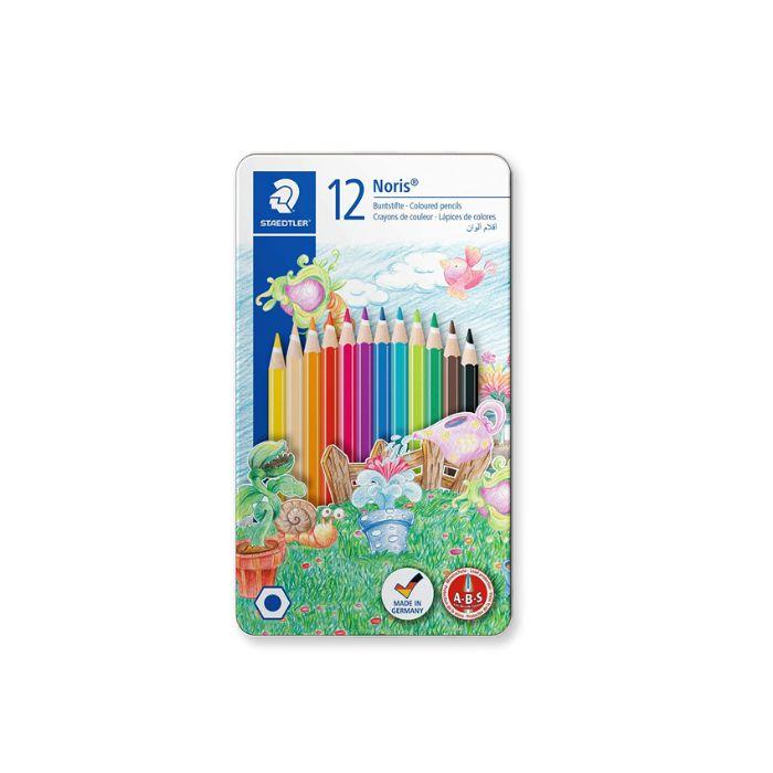 Staedtler 145 CM12 Noris Colouring Pencils Tin Case Set (pkt/12pcs)
