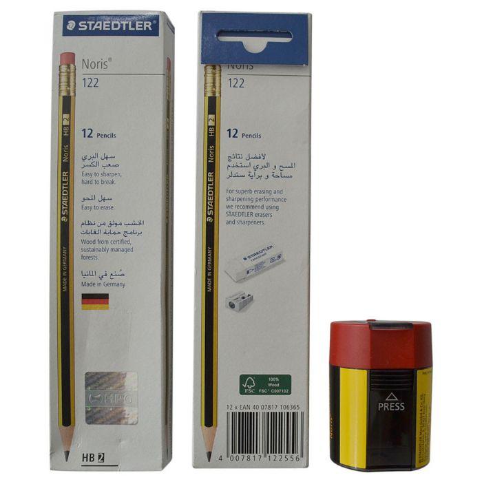 Staedtler Noris HB 2 + Noris Sharpener Tub (Combo)