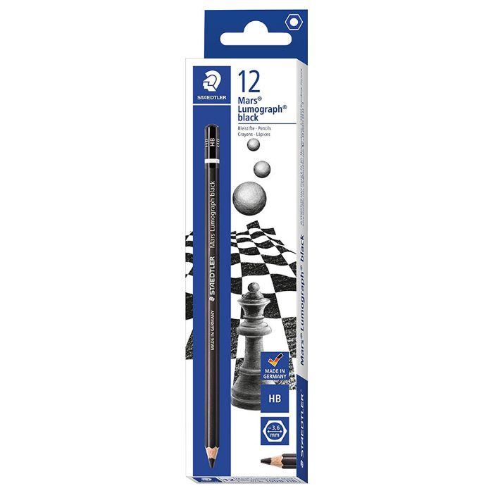 Staedtler ST100B-G12 Mars Lumograph Pencil - Black (pkt/12pcs)