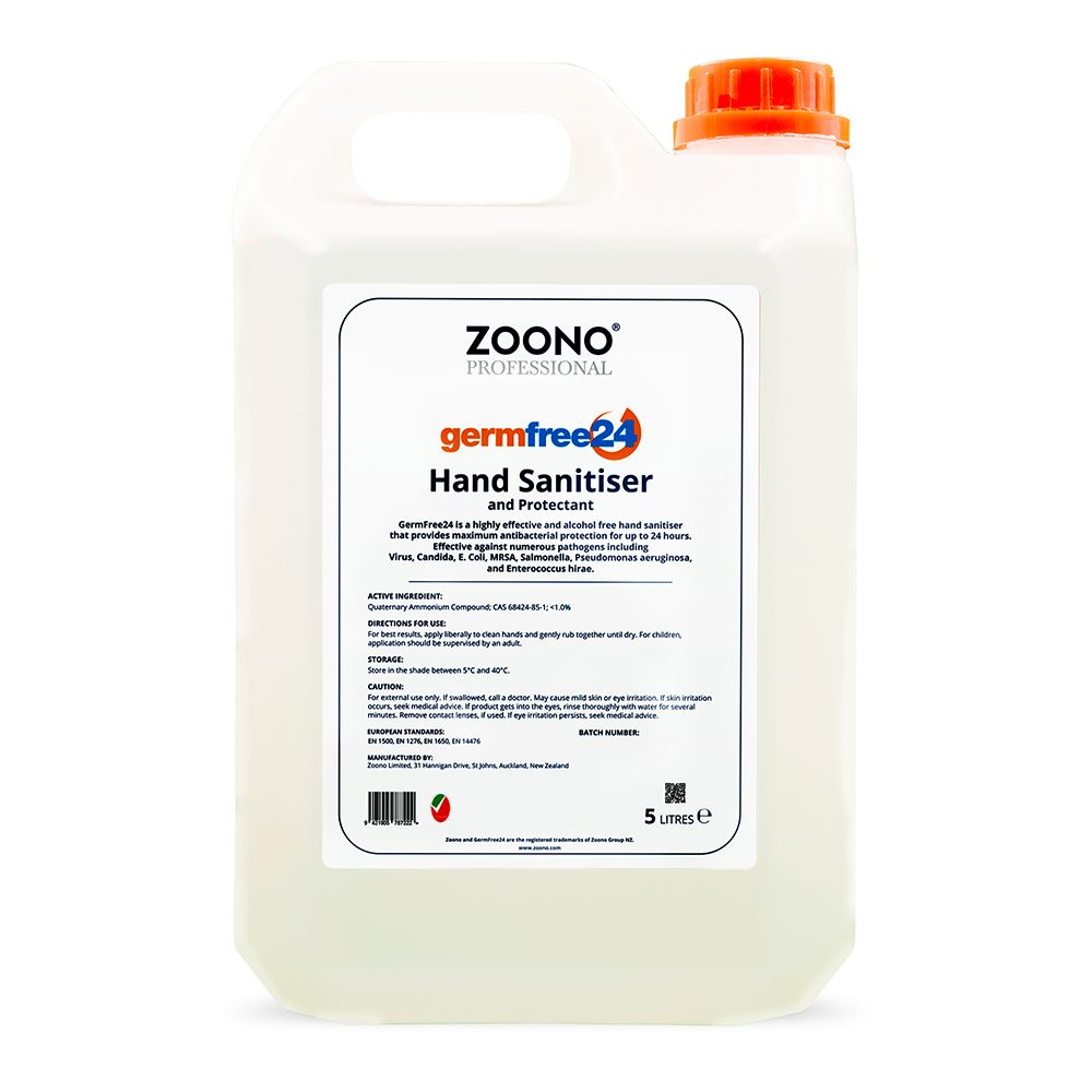 Zoono Z-HS5L Germ Free 24 Hand Sanitiser and Protectant 24 Hour Protection - 5L