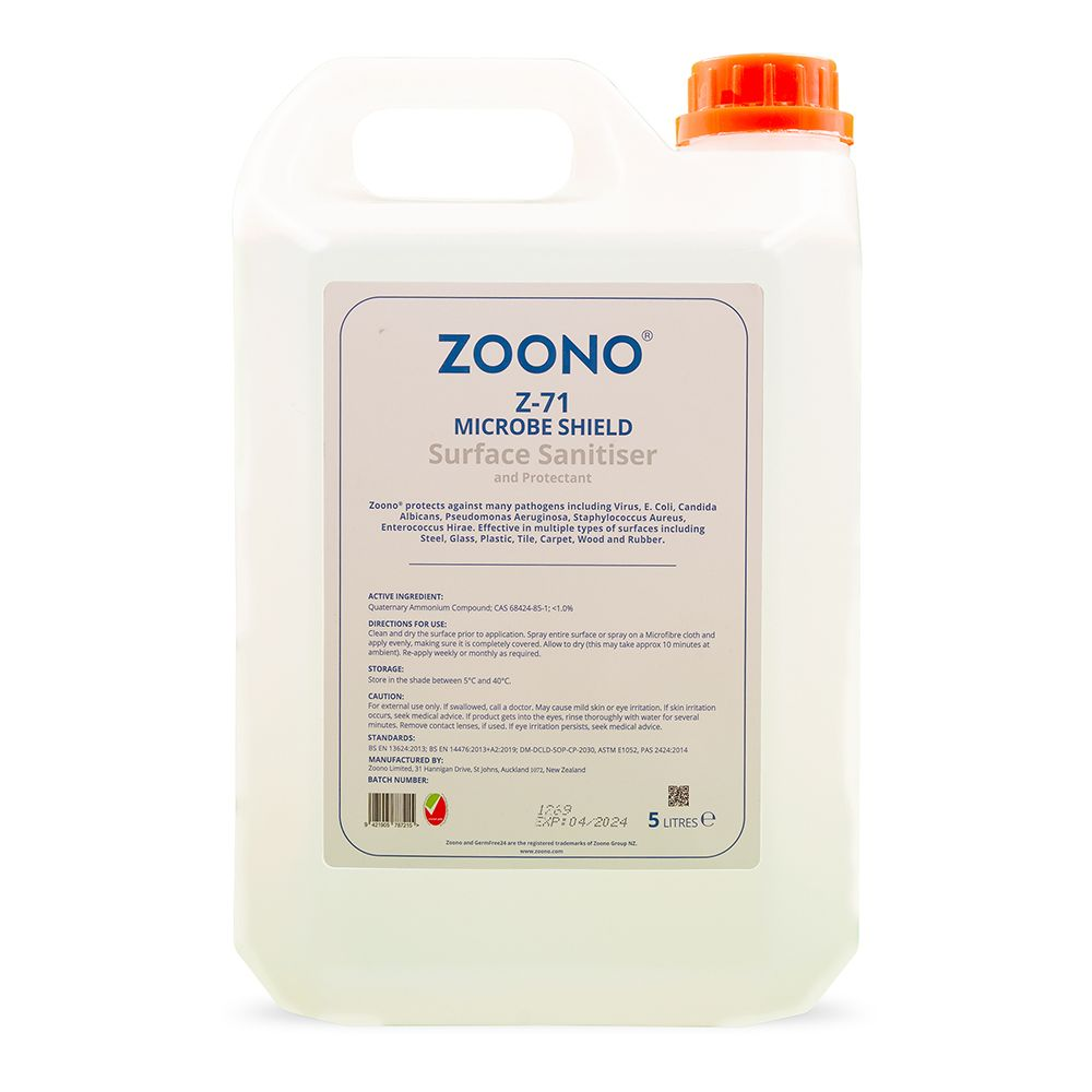 Zoono Z-MS5L Microbe Shield Surface Sanitiser and Protectant Up to 30 Days Protection - 5L