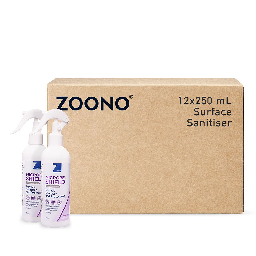 Zoono Microbe Shield Surface Sanitiser and Protectant Up to 30 Days Protection - 250ml x 12