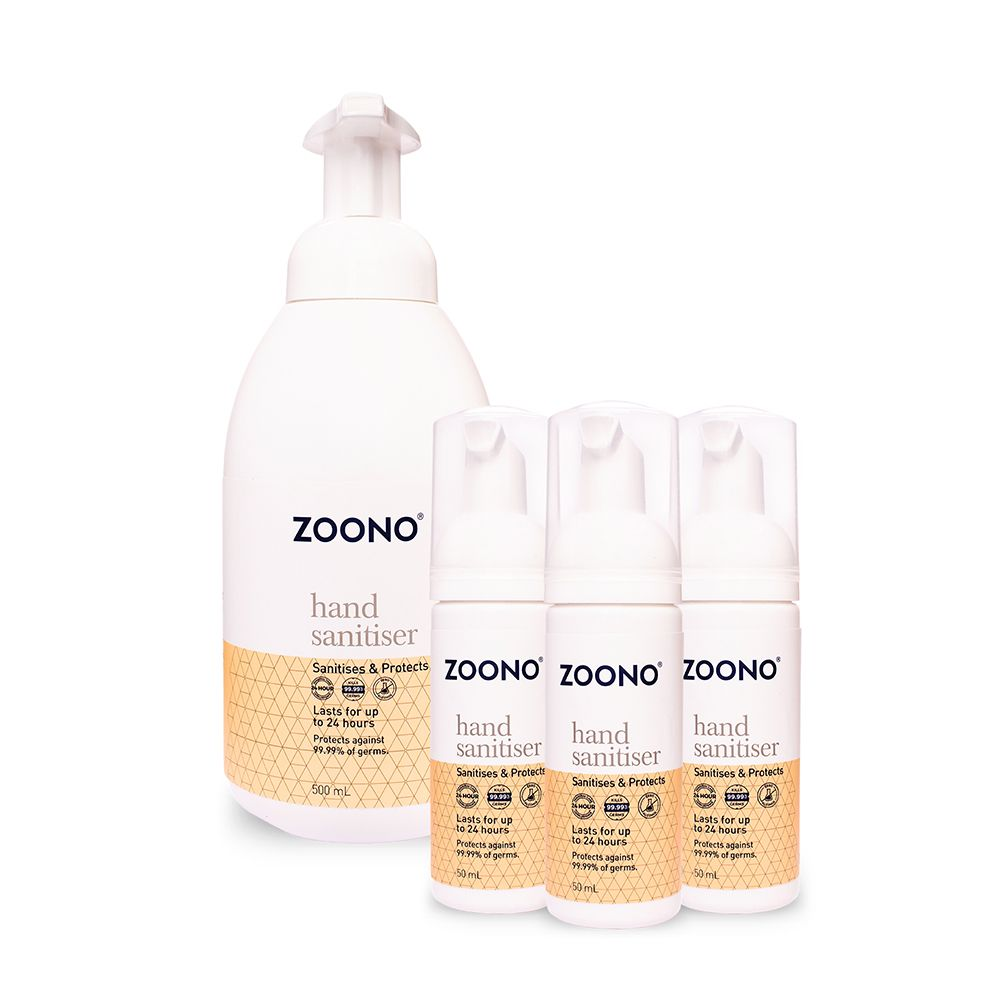 Zoono Z-HS Mini Germ Free 24 Hand Sanitiser and Protectant 24 Hour Protection Mini Pack (50ml x 3 + 500ml)