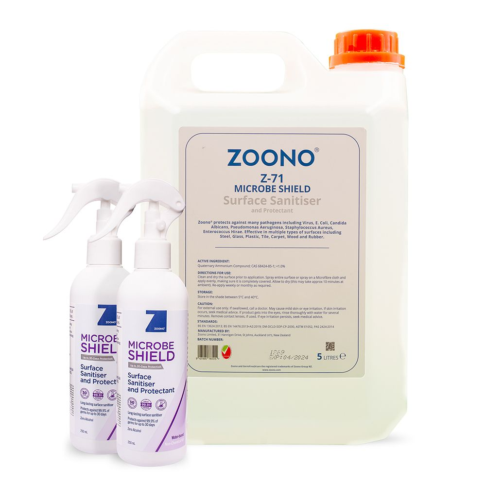 Zoono Z-MS_Office Microbe Shield Surface Sanitiser and Protectant Up to 30 Days Protection Office Pack (250ml x 2 + 5L)