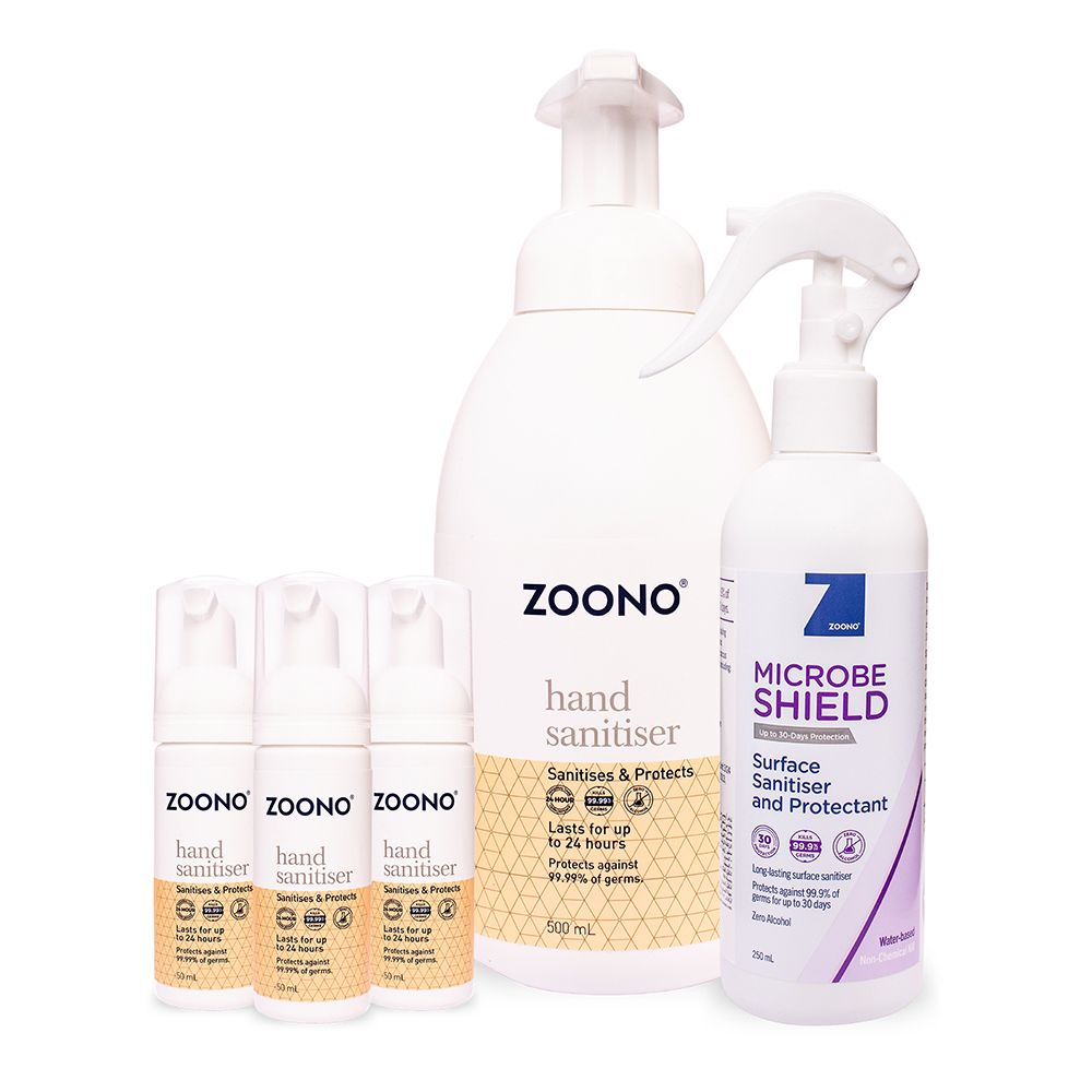 Zoono Z-HSMS Combo2 Sanitisers and Protectant Combo Pack 2 (GF24 50ml x 3 + GF24 500ml + MS 250ml)
