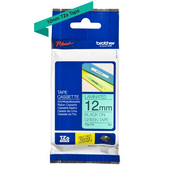 Brother TZe-731 Labelling Tape 12mm x 8m - Black on Green (pc)