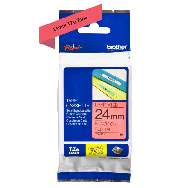 Brother TZe-451 Labelling Tape 24mm x 8m - Black on Red (pc)