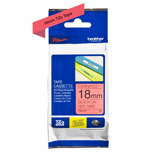 Brother TZe-441 Labelling Tape 18mm x 8m - Black on Red (pc)