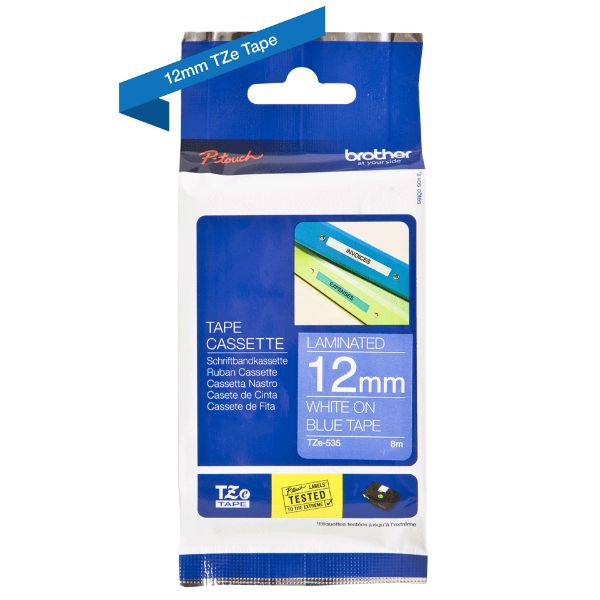 Brother TZe-535 Labelling Tape 12mm x 8m - White on Blue (pc)