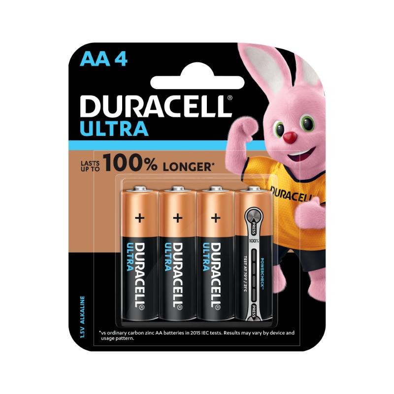Duracell Ultra AA Alkaline Batteries (pkt/4pc)