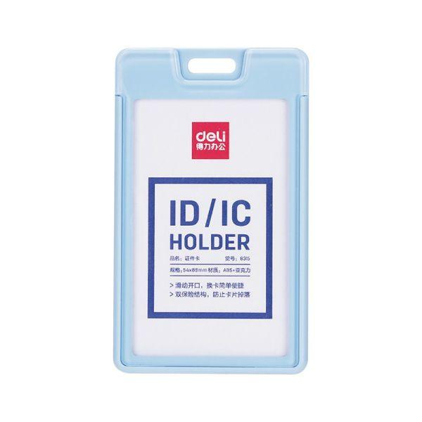 Deli 8315 Acrylic Name Badge Vertical 54mm x 89mm - Blue (Box/48pcs)