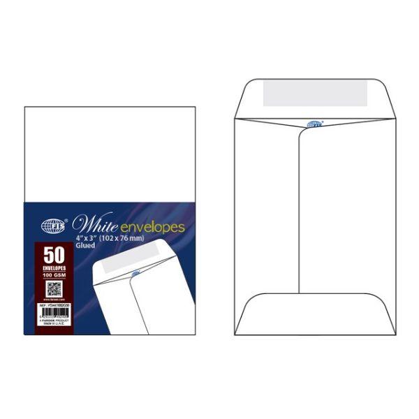 FIS FSWE1002G50 Envelope 100gsm 3 x 4in - White (pkt/50pcs)