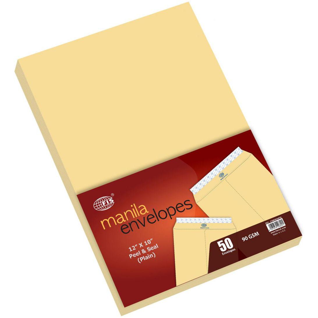FIS A4 Envelope 90gsm 12 x 10in FSME9034P - Brown (pkt/250pcs)