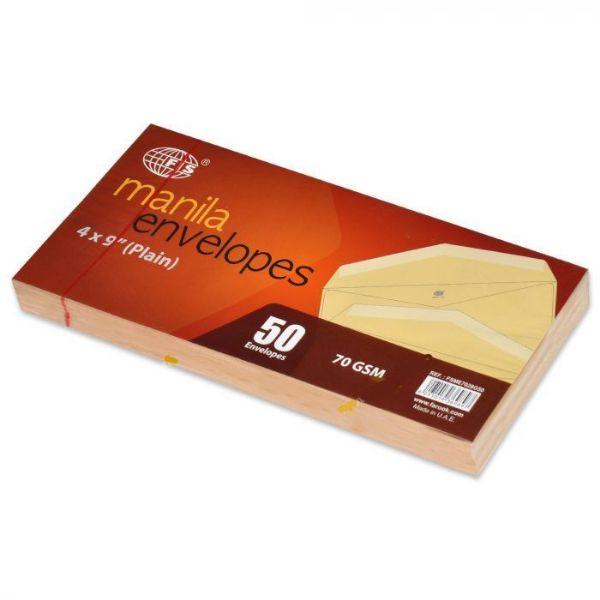 FIS Manila Envelopes 70gsm 4 x 9in FSME7028G50 - Brown (pkt/50pcs)