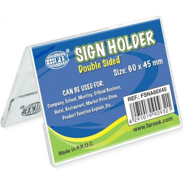 FIS A-Shape Sign Holders Double Sided Oblong 60 x 45mm FSNA60X45 - Clear (pc)
