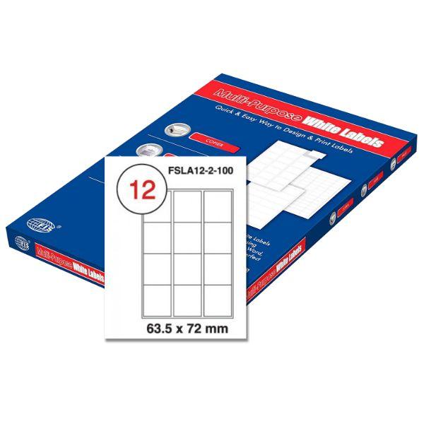 FIS Multipurpose White Label 63.5 x 72mm - FSLA12-2-100 (pkt/100s)