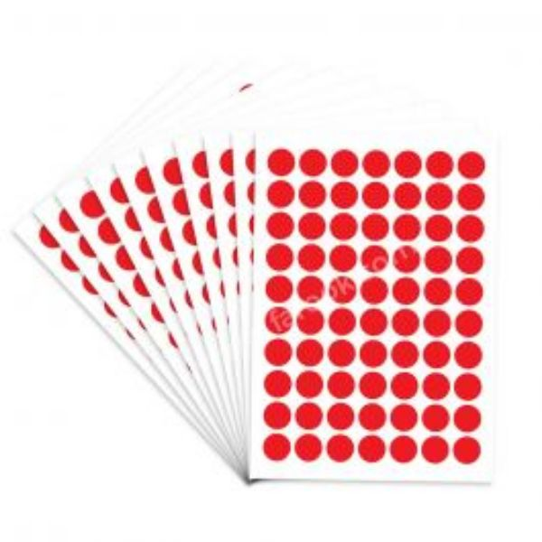 FIS Color Round Labels 19mm FSLA19REN - Red (pkt/350Labels)