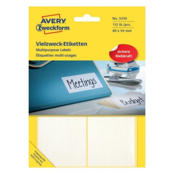 Avery 3330 Multipurpose Labels 80 x 54 mm - White (Pkt/112Labels)