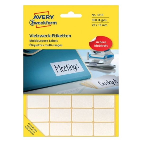 Avery 3319 Multi-usage Labels Handwriting Permanent 29 x 18mm - White (Pkt/960Labels)
