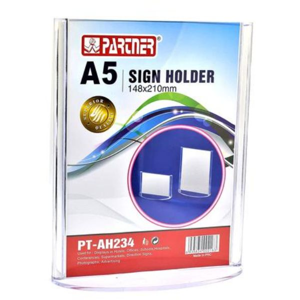 Partner PT-AH234 Acrylic Sign Holder T-Shape Vertical Oval Base A5 148 x 210mm - Clear (pc)