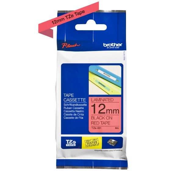 Brother TZe-431 Laminated Tape 12mm x 8m - Black on Red (pc)