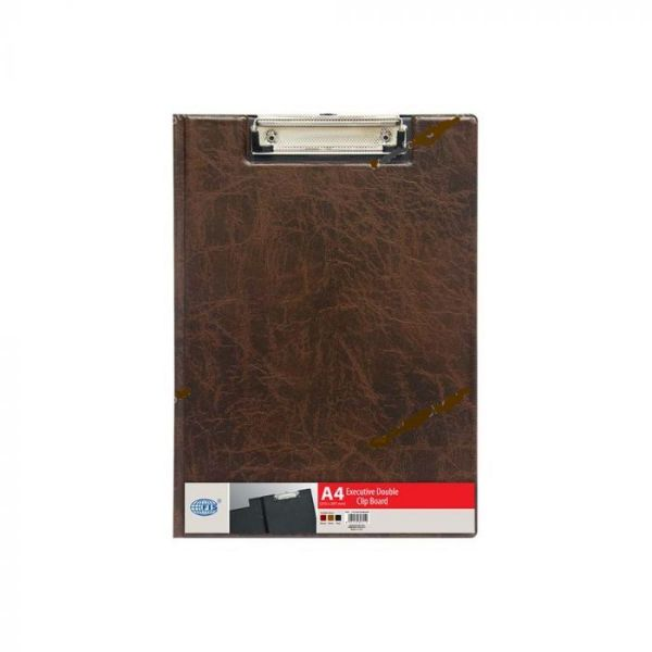 FIS FSCB0302MXBR PVC A4 Deluxe Double Clipboard - Brown (pc)