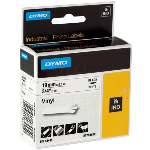 Dymo Rhino S0718620 (18445) Vinyl Tape 19mm x 5.5m - Black on White (pc)