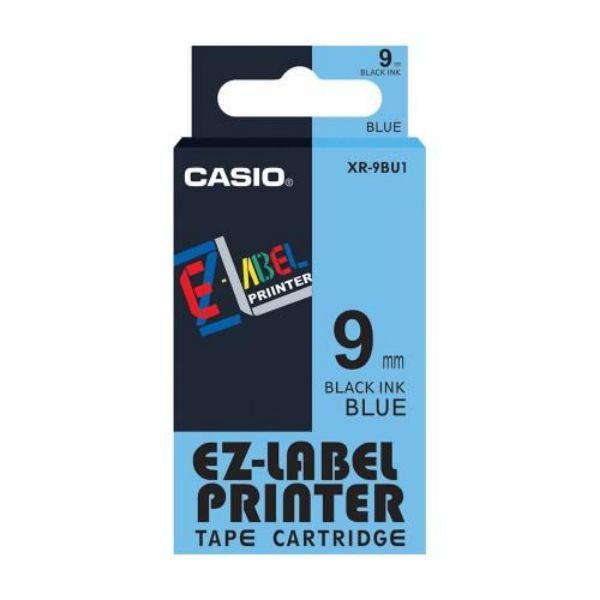 Casio XR-9BU1 EZ Label Printer Tape Cartridge 9mm x 8m - Black on Blue (pc)