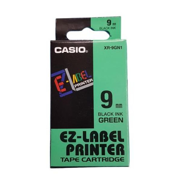 Casio XR-9GN1 EZ Label Printer Tape Cartridge 9mm x 8m - Black on Green (pc)