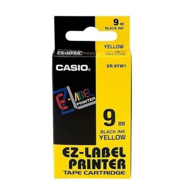 Casio XR-9YW1 EZ Label Printer Tape Cartridge 9mm x 8m - Black on Yellow (pc)