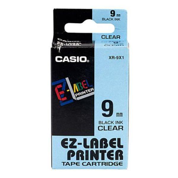 Casio XR-9X1 EZ Label Printer Tape Cartridge 9mm x 8m - Black on Clear (pc)