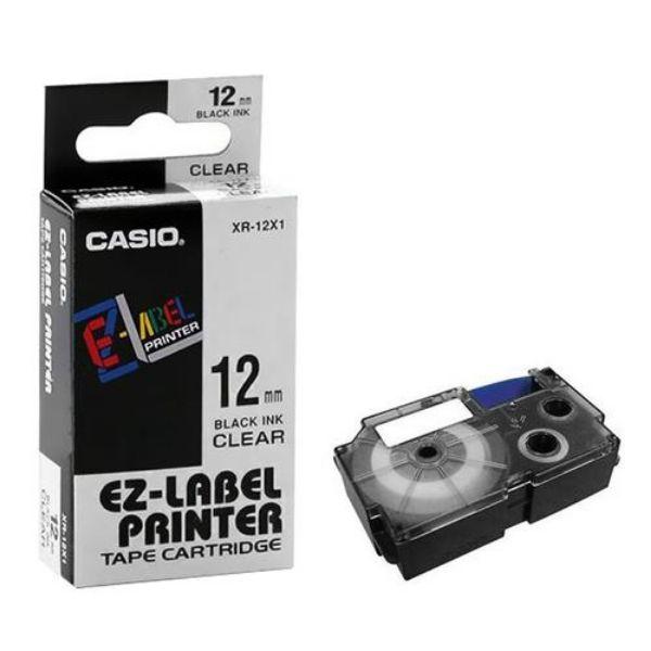 Casio XR-12X1 Tape Cassette 12mm X 8m - Black on Clear (pc)